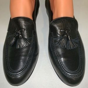 Cole Haan Tassel Loafers Black Leather Italy